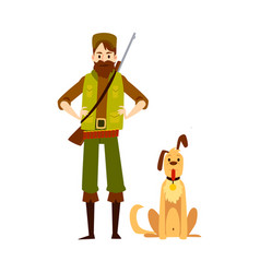 Male hunter standing with arms akimbo and sitting vector