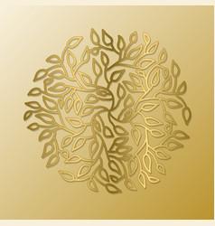 Mandala circle pattern round tree leaves gold vector