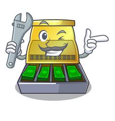 Mechanic cartoon cash register with a money drawer vector