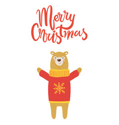 Merry christmas banner congratulation from bear vector