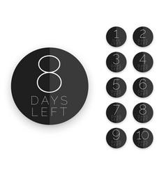 minimal black circle style days left symbol vector image