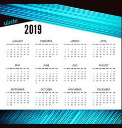 modern calendar template for 2019 years bright vector image