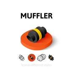 Muffler icon in different style vector image