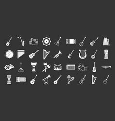 musical instrument icon set grey vector image