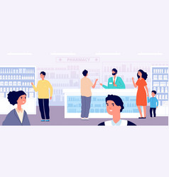 Pharmacy store pharmacist medical shopping woman vector