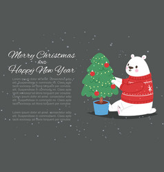 polar bear with merry christmas and happy new year vector image