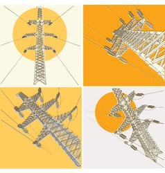 Power Transmission Line set vector