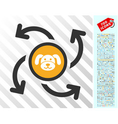 Puppycoin emission swirl flat icon with bonus vector