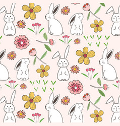 rabbit and flower pattern background vector image
