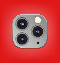 Realistic camera lenses 3d icon isolated vector