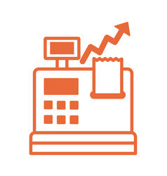 register machine with price hike arrow up vector image