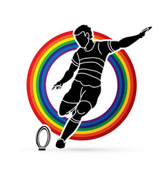 rugby player action cartoon sport graphic vector image