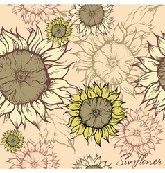 seamless pattern - field of sunflowers vector image