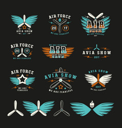 Set air force and air show emblem and icons vector