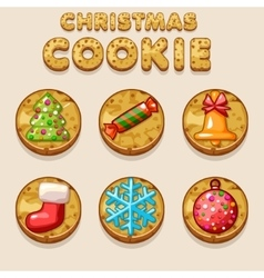Set Cartoon Christmas cookies biskvit food icons vector