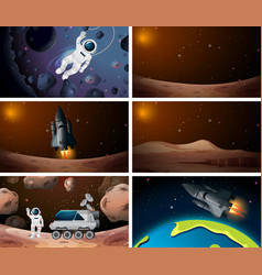 set different outer space scenes vector image