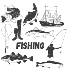 set fishing labels in vintage style vector image