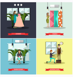 set of fashion atelier square flat posters vector image
