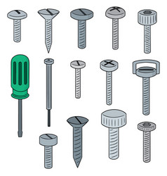 Set of screw and screwdriver vector