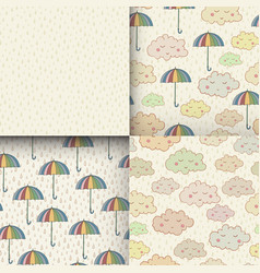 Set of seamless pattern with cute sleeping clouds vector