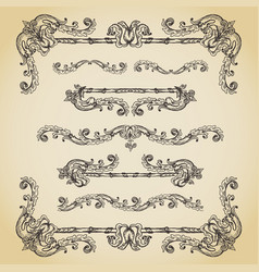 Set of vintage swirls seamless borders and vector