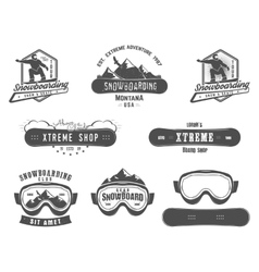 set snowboarding extreme logo and label vector image