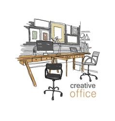 Sketch interior design comfortable workplace vector image