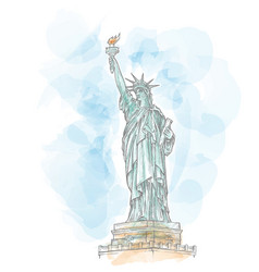statue liberty hand draw on watercolor vector image