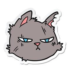Sticker a cartoon tough cat face vector