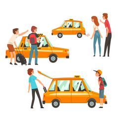 taxi service set clients waving to taxi man vector image