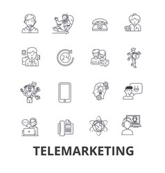 Telemarketing call center telesales marketing vector