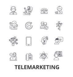 Telemarketing call center telesales marketing vector
