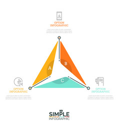 triangular diagram divided into 3 lettered sectors vector image