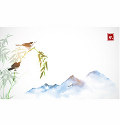 two little birds bamboo branch and far blue vector image
