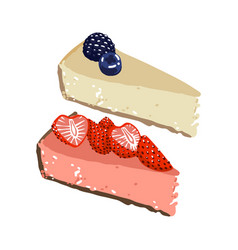 Two pieces cheesecake with strawberry and vector