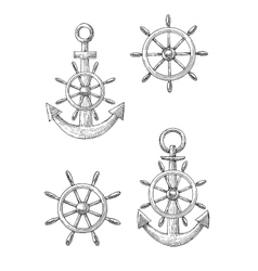 Vintage nautical anchors and helms sketches vector image