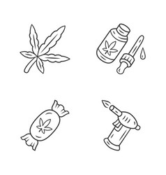 Weed products linear icons set cannabis industry vector