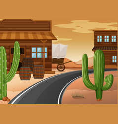 western town with buildings and cactus vector image