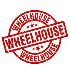 Wheelhouse round red grunge stamp vector