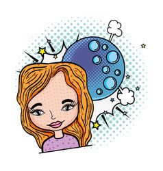 woman with moon pop art character vector image