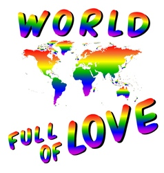 World full of love Worldmap into the heart LGBT vector image