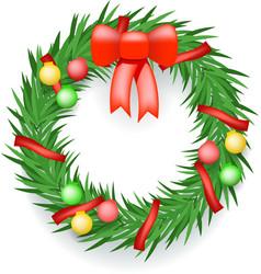 Wreath balls ribbons christmas decoration vector