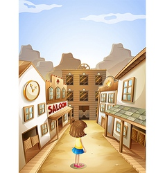 A small girl near the saloon bars vector image vector image