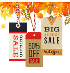 autumn sale tags in vintage style vector image vector image