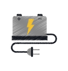Car battery high voltage mechanic cable plug ed vector