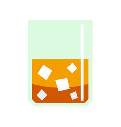 glass of scotch whiskey and ice icon flat style vector image