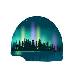 Northern lights over deep forest icon vector