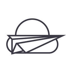 paper planefreedom line icon sign vector image
