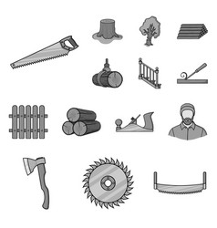 Sawmill and timber monochrome icons in set vector