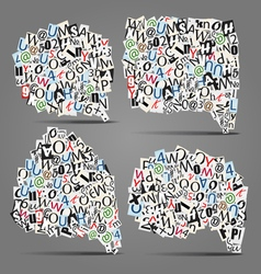 Set of talk bubbles of letters vector image vector image